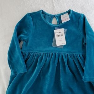 NWT Hanna Anderson 12-18 month Teal Velour Dress